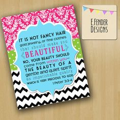Modern Damask, Chevron, Polka Dot 11x14 Wall Art, Bible Verse 1 Peter 3:3-4 in Pink, Lime Green, and Black