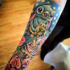 Disney Sleeve Tattoo By Johnny Smith Art  Lilo and Stitch, Alice in Wonderland, Mason Jar, Frog tattoo