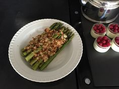 Pan fried green asparagus with grilled almonds. #aga #agacooking #ladyaga