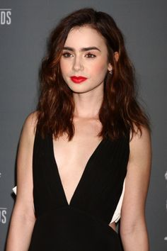 Lily Collins arrives at the 15th Annual Costume Designers Guild Awards at the Beverly HIlton Hotel in Beverly Hills, CA #beauty #makeup #celebrity