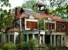 Abandoned, but that house is so cool!! why people?! take care of cool places