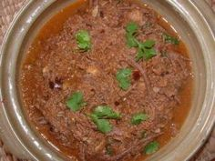 Hilacha (shredded beef in tomato-tomatillo sauce)  One of our May 2013 featured Guatemalan recipes.