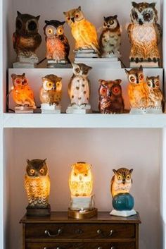 German pottery owl lamps