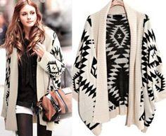 Winter Cardigan AZTEC SWEATERS 2014 Fashion Women Long Sweaters Knitted Cape Cardigan Batwing Oversized Sweater Shawl