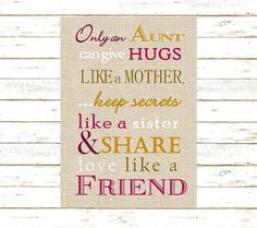 Aunt Gift Only And Can Give Hugs Like A Mother Print DIY Instant Download From Home Birthday