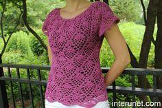 Raglan blouse - pineapple Pattern says size 6, but change hook size to make larger, I think.