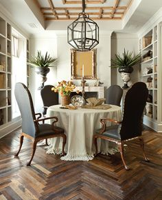Veranda's House of Windsor which features Antique French Oak in Herringbone pattern from Exquisite Surfaces.