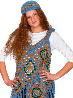 receita de blusa de crochê colorida com touca