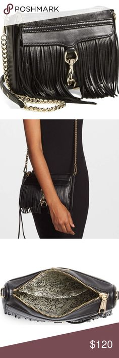 Rebecca Minkoff Frinne Crossbody Lightly used- in great condition. Black leather with gold chain. Rebecca Minkoff Bags Crossbody Bags