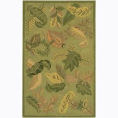 Hand-tufted Mandara Green Floral Wool Area Rug (7'9 x 10'6) | Overstock.com Shopping - The Best Deals on 7x9 - 10x14 Rugs