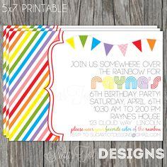 Retro Rainbow Birthday Invitation, Somewhere Over the Rainbow Birthday Party Invitation, Taste the Rainbow Birthday with Photo - Printable. $12.00, via Etsy.