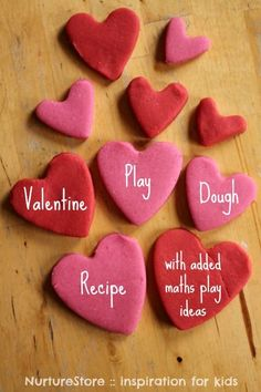 Reall easy, no cook Valentine play dough recipe {plus maths play ideas} from @Cathy James www.nurturestore.co.uk