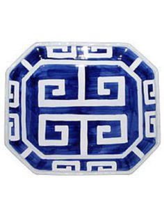 Sapphire greek key platter from Corzine & Co.