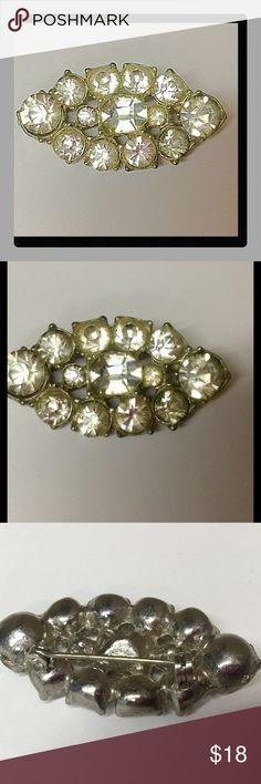 Vintage rhinestone brooch silver plated Vintage brooch Vintage Jewelry Brooches