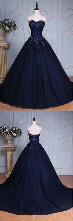 Princess Ball Gown Sweetheart Navy Blue Beads Ruffles Long Tulle Prom Dresses uk with Lace up,#quinceaneradress,#prom#dress,#navyblue
