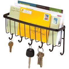 InterDesign Axis Mail, Letter Holder, Key Rack Organizer for Entryway, Kitchen, Wall Mount, Bronze