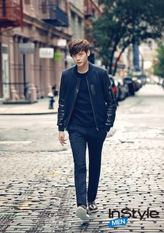 Kdrama Flower Boys - #Lee #Jong #Suk in his usual get up - dark fitting jeans, shirt, and leather jacket. Come to me oppa! ♥ Visit my celebrity site at http://www.celebritysizes.com/ for more fun stuff!♥