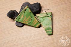 by TheWoodArtShop Wooden Earrings, Boho Earrings, How To Distress Wood, Bee Keeping, Craft Gifts, Boho Fashion, Dangles, Hand Painted, Etsy Shop