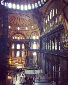 The inside of Hagia Sophia, one of the most famous buildings in the world and a must when visiting Istanbul | what to do with 24 hours in Istanbul, itinerary ideas, planning your trip, what to see, and more! All your Istanbul travel advice in one place.