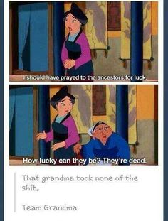Mulan& Grandma knows what& up. The post Pretty positive that the grandma from Mulan has it right appeared first on Disney Memes. Disney Memes, Funny Disney Jokes, Disney Quotes, Funny Jokes, Hilarious, Disney Facts, Funny Fails, Disney Princess Memes, Disney Princes Funny