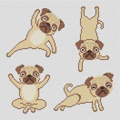 Pug Yoga Cross Stitch Kit - Charted Original Fun Cross Stitch With DMC Threads