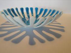 FREE SHIPPING - Blue & White Fused Glass Coral Bowl