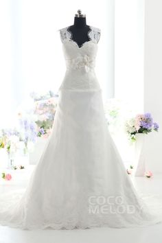 Modern A-Line Queen Anne Natural Train Tulle Ivory Sleeveless Lace Up-Corset Wedding Dress with Appliques h1rc0126