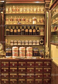 depositphotos_3675036-Old-laboratory.jpg 706×1,024 pixels. It would be awesome to include apothecary jars into the kitchen...I could put my spices in small ones with pretty labels