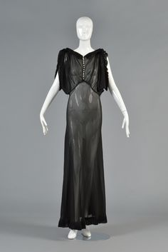 1930s Black Evening Dresses | 1930's Black Sheer Evening Gown with Open Draped Sleeves image 2