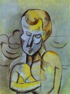 """Pablo Picasso - """"Homme nu aux bras croises"""". 1909"""