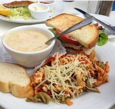 Fine Dining at The Cliff Restaurant. Turkey Sandwich with Pasta Salad and Clam Chowder. (not an original RE/MAX Evolution picture)  For more information: http://www.yelp.com/biz/the-cliff-restaurant-laguna-beach