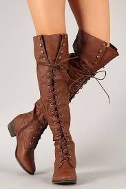 Cute Knee High Combat Boots With Laces...