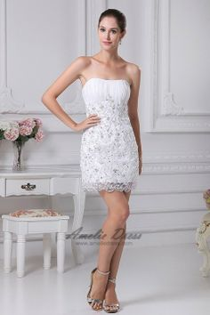 Mini/Short Sheath/Column Strapless Dress with Lace Appliques - Sales