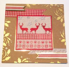 Handmade card. Rice Papers, Textiles Starlights, Holly stencil.