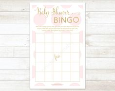 pink and gold baby shower bingo game card printable DIY pink and gold glitter baby shower games - INSTANT DOWNLOAD on Etsy, $5.00
