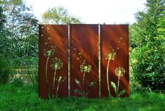 Garden Wall Screen Protector Wall Triptych Dandelion Steel rust cm - All About Balcony Garden Privacy, Privacy Landscaping, Outdoor Privacy, Privacy Fences, Garden Wall Art, Metal Garden Art, Backyard Plan, Backyard Fences, Garden Dividers