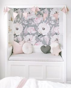 DIY Closet reading nook with floral wallpaper. Nursery Wallpaper, Home Wallpaper, Adhesive Wallpaper, Wallpaper For Girls Bedroom, Bedroom Girls, Toddler Girl Bedrooms, Toddler Girls, Reading Nook Closet, Home Decor