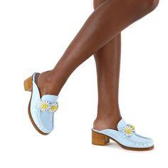 Iconic Daisy Mule Aqua   Sophia Webster Sophia Webster, Shoe Box, Shoe Brands, Perfect Fit, Patent Leather, Dust Bag, Daisy, Aqua, Loafers