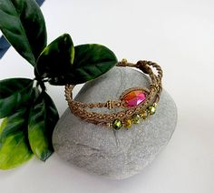 Bracelet micromacrame.Boho bracelet style.Macrame work bracelet. Beads macrame bracelet. Macrame weaving jewelry.Pink cabochon bracelet.