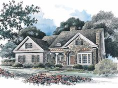 French Country House Plan with 2170 Square Feet and 4 Bedrooms from Dream Home Source | House Plan Code DHSW42472