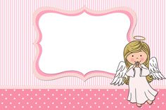 Angel Girl: Free Printable Invitations, Cards and Photo Frames. Free Printable Invitations, Party Printables, Free Printables, Angel Girl, Angel Theme, Baby Girl Photos, Baby Christening, Girl Baptism, Party Kit