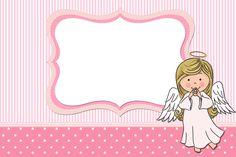 Moldura Convite e Cartão Batizado para meninas anjinha: