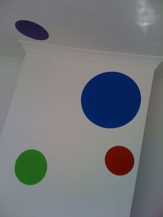 More painted ceilings!  Painted polka dots/spots are very simple but extremely effective!
