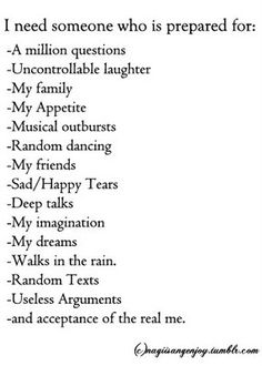 Every girl should be so lucky to find a partner that meets all of these. Im so random and fun