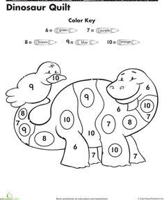 Worksheets: Dinosaur Color By Number