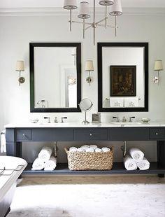 paint bathroom cabs: Suzie: Amy D. Morris Interiors - White & gray modern bathroom design with Benjamin Moore ...