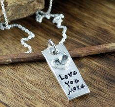 Love you More Necklace, Heart Necklace, Hand Stamped Quote Jewelry, Gift for Wife, Best friend Necklace, gift for BFF, Personalized gift by AnnieReh on Etsy Friend Necklaces, Jewelry Quotes, Hand Stamped Jewelry, Stainless Steel Chain, Love You More, Gifts For Wife, Dog Tag Necklace, Bff, Personalized Gifts