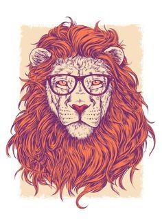 Lion Hipster Art Print