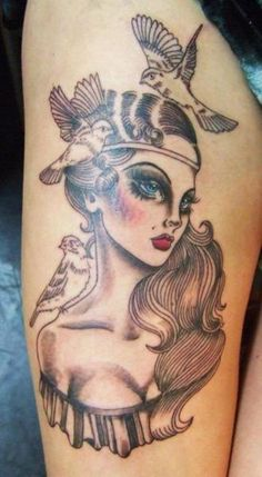 "A previous pinner said, ""love the bright pop of eyes and lips in this tattoo!"" I think this is gorgeous. ;) Mo"
