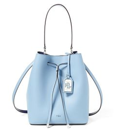 08f32f11b2 Blue Mist Marine Lauren Ralph Lauren Dryden Collection Debby Medium  Drawstring Bag Beautiful Handbags